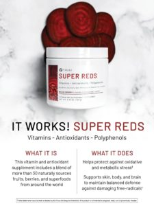 Look and feel younger with this fruit-infused supplement. It Works! is rolling out the red carpet for this nutritional powerhouse of naturally sourced berries, fruits, and superfoods from across the globe. With more than 30 vibrant antioxidants and vitamin-infused ingredients, you'll give your body all the Vitamin A, C, and B-complex it needs for an entire day—in just one serving. For a nutritious boost that helps build your body's defenses to stress†, mix one packet (6.0 g) of It Works! Super Reds with 8 oz. of water or juice.