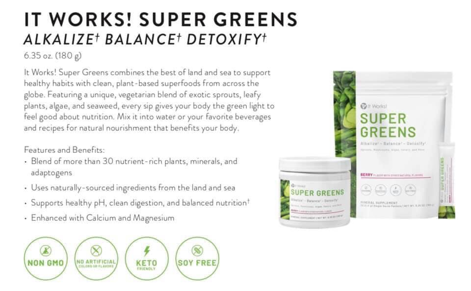 Balance your nutrition to support your health and weight management goals. It Works! Super Greens combines the best of land and sea to support an alkalized body, healthy digestion, and nutritional balance with clean, plant-based superfoods.† Featuring a unique, vegetarian blend of exotic sprouts, leafy plants, mushrooms, algae, and seaweed, every sip gives your body the green light to feel good about nutrition. Mix it into water or your favorite beverages and recipes for natural nutrition that benefits your body.